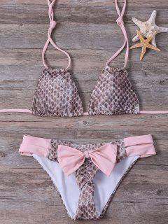 Conjunto De Cuerdas Bikini Halter Piel De Serpiente Impreso - Rosa Xl