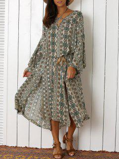 Bell Sleeve Tribal Pattern Print Dress - Off-white S