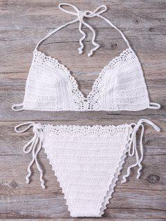 Halter Kintted Bikini Set - White