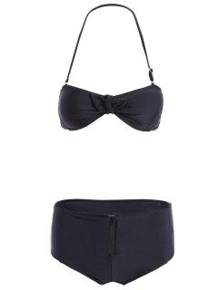 High-Waisted Bowknot Halter Bikini Set - Black S