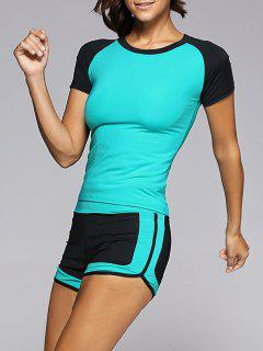 Color Spliced T-Shirt And Gym Shorts Twinset - Blue S