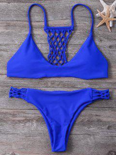 Cami Strappy Fishnet Bikini Set - Blue M