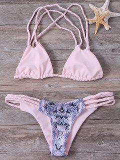 Braided Printed Bikini Set - Shallow Pink S