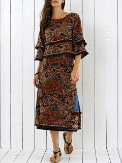 3/4 Retro Manches Imprimer Side Slit Fringe Dress - S