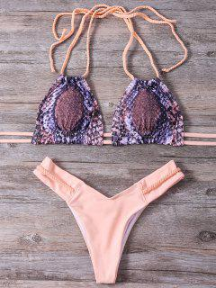 Snakeskin Print Braided Bikini Set - Earthy M