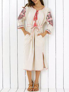 Embroidered V Neck Side Slit Maxi Dress - Apricot