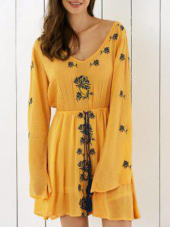 Embroidery V Neck Long Sleeve Drawstring Dress - Earthy S