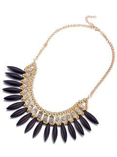 Faux Rammel Strass Creuse Collier Out - Noir