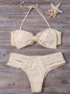 Banded Bowknot Bikini Set - Yellow S
