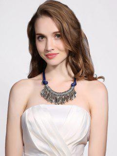 Collar Pendiente De La Hoja Artificial Cuero Cuerda - Azul