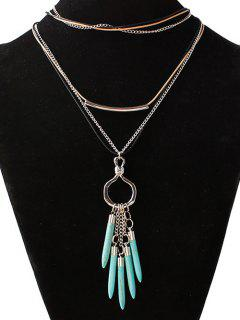 Artificial Turquoise Bullet Shape Sweater Chain - Silver
