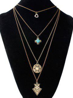 Artificial Turquoise Rhinestone Heart Sweater Chain - Golden