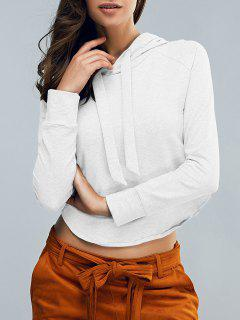 Cropped Hooded Long Sleeve Pullover Hoodie - White S