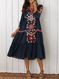 Robe Mi-mollet En Broderie En Style Bohémien Pour Femmes - Bleu Violet M
