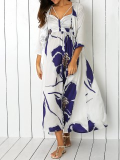 Floral Print Cami Dress And Blouse - Blue And White M