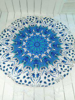 Couverture De Plage Ronde Convertible Imprimée Frangée - Bleu Et Blanc