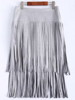 Faux Suede Fringed Flapper Skirt - Gray 2xl