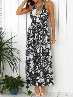 Low Cut Floral Backless Maxi Dress - White And Black S
