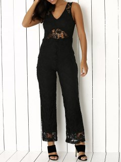 Solid Color Plunging Neck Sleeveless Lace Jumpsuit - Black S
