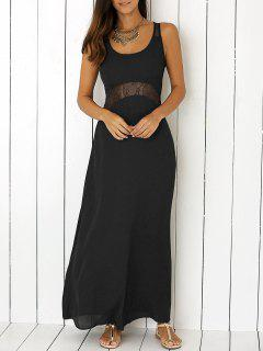 Lace Trim Scoop Neck Sleeveless Chiffon Dress - Black S