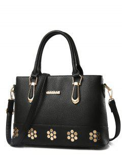 Metal Zipper PU Leather Tote Bag - Black