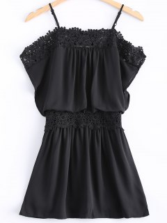 Lace Spliced ​​Cami Cut Out Robe Noire - Noir Xl