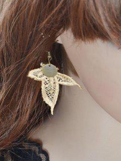 Round Sequin Leaf Earrings - Golden