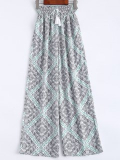 Ethnic Printed Wide Leg Pants - S