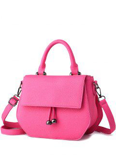 Zip PU Leather Metal Crossbody Bag - Rose Madder