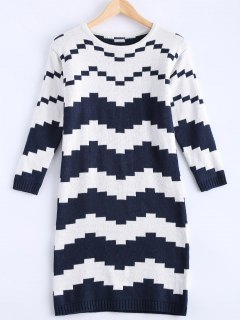 Striped Midi Sweater Dress - Blue And White