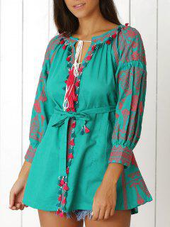 Ethnic Embroidery V-Neck Lantern Sleeve Dress - Green