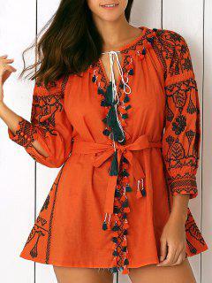 Ethnic Embroidery V-Neck Lantern Sleeve Dress - Jacinth