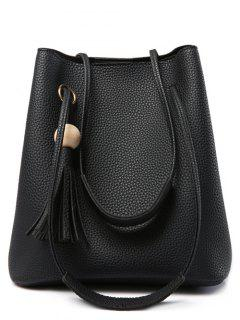 Tassels Magnetic Closure Metal Ring Shoulder Bag - Black