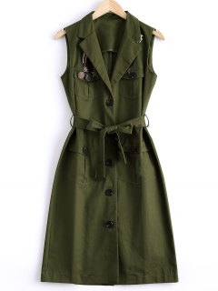 Belted Long Utility Waistcoat - Army Green L