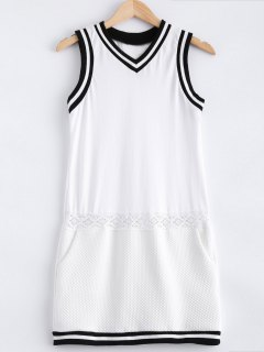 Casual Lace Spliced V Neck Sleeveless Dress - White S
