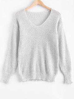 V Neck Oversized Sweater - Gray Xl