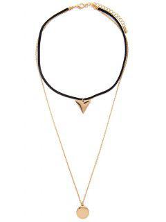 Geometric Layered Choker Necklace - Golden