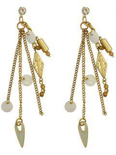 Cut Out Geometric Tassel Earrings - Golden