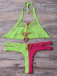Crocheted Halter Lace Up Bikini Set - Light Green L