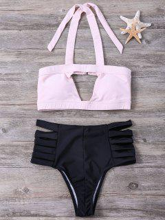 Hit Color Bandage Halter Bikini Set - Light Pink M