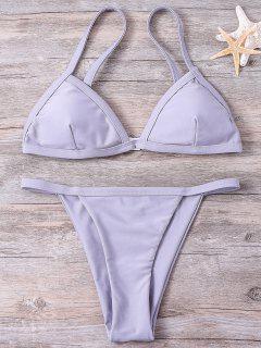 Solide Couleur Bretelles Taille Basse Bikini - Gris S