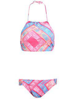 Geometric Pattern High Neck Bikini Set - Pink S