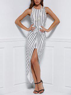 Ruffled Vertical Stripes Asymmtrical Racerback Maxi Dress - White And Black L
