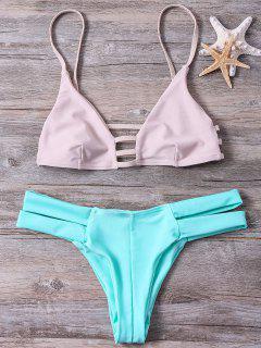 Color Block Cut Out Spaghetti Straps Bikini Set - Green S