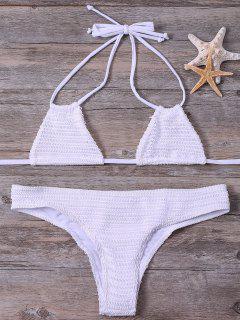 Atado Al Cuello De Dos Piezas Del Bikini - Blanco L