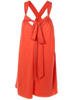 Halter Cross Back Cami Shift Dress - Red M