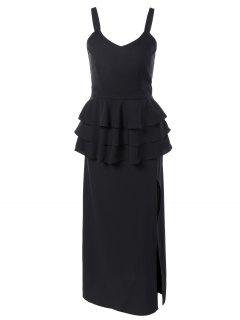 Peplum Maxi Dress - Black S
