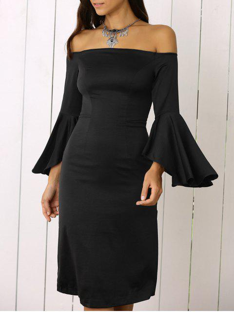 lady Dramatic Sleeve Off The Shoulder Sheath Dress - BLACK M Mobile
