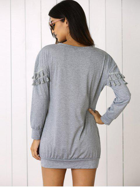 outfit Fringed Sweatshirt Dress - GRAY L Mobile