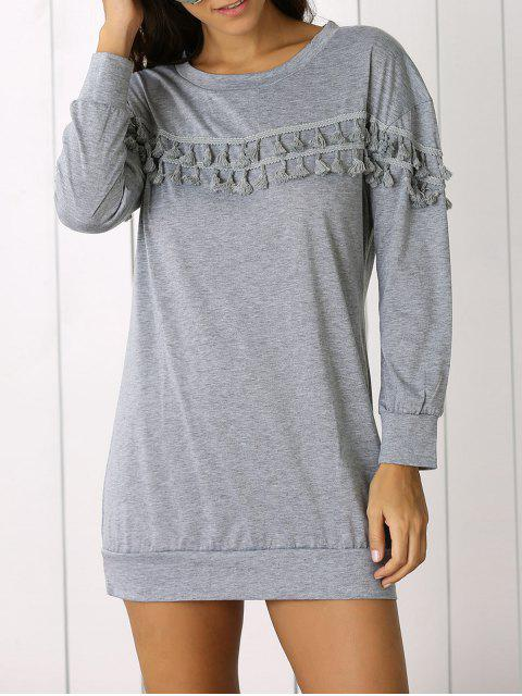 shop Fringed Sweatshirt Dress - GRAY S Mobile